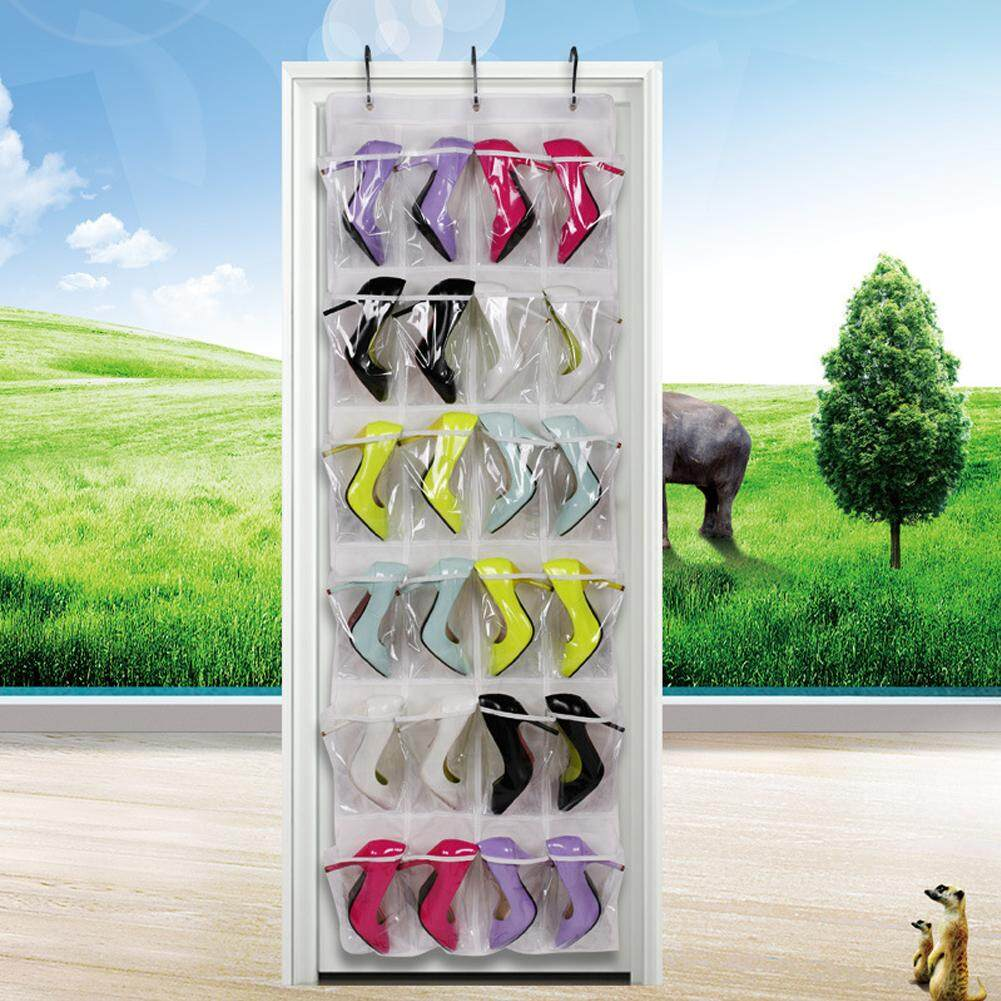 Wall Pocket Door Back Shoes Rack Shoe Storage 24 Pocket Wall Hanging Rack Clothes Box Small Accessory with Hook