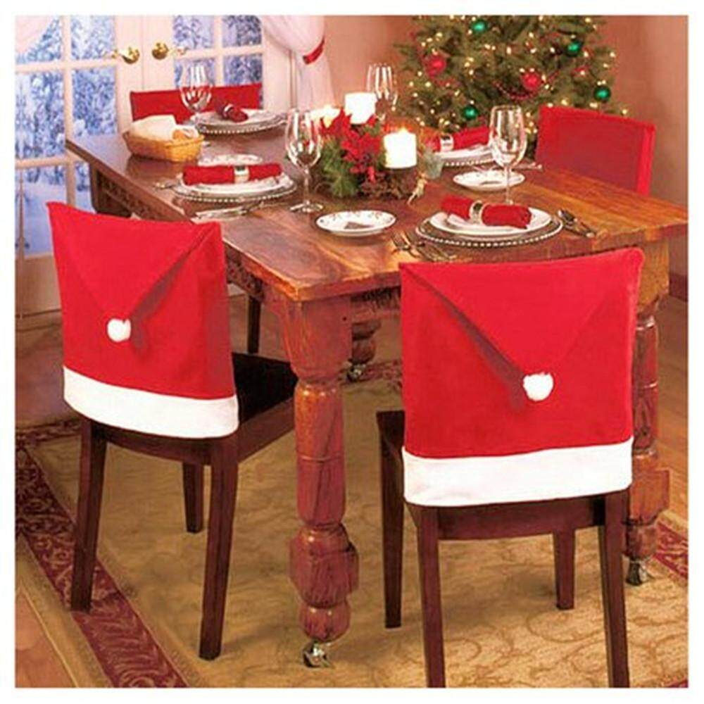 opkmc Santa Claus Hat Dining Chair Covers Soft Comfort Christmas Party Decoration,Set Of 8 - intl