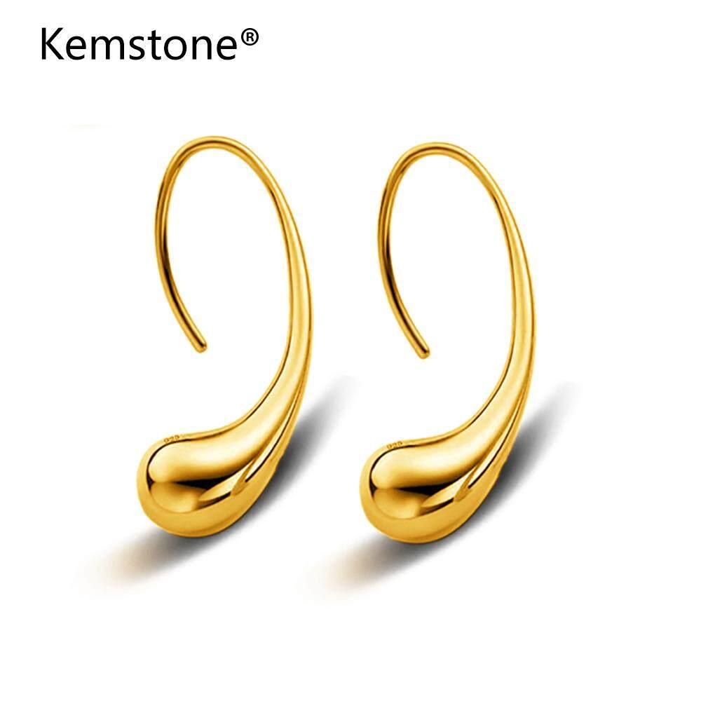 Kemstone Gold/silver Light Teardrop Simple Dangle Earrings Jewelry For Women Fashion Style By Kemstone Jewelry.