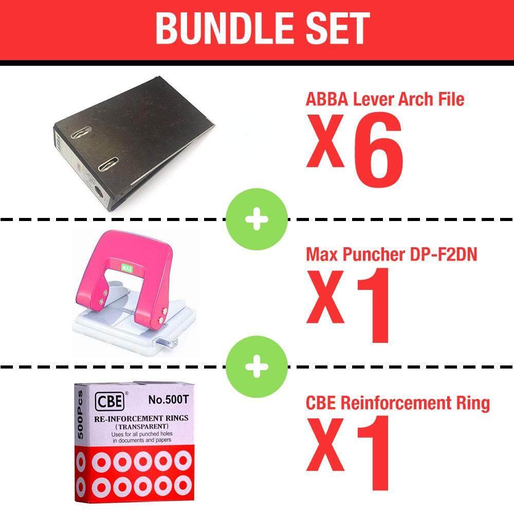 [Bundle] ABBA Lever Arch File x 6 pcs + Max Puncher DP-F2DN x 1 pcs + CBE 500T Reinforcement Ring x 1 pcs