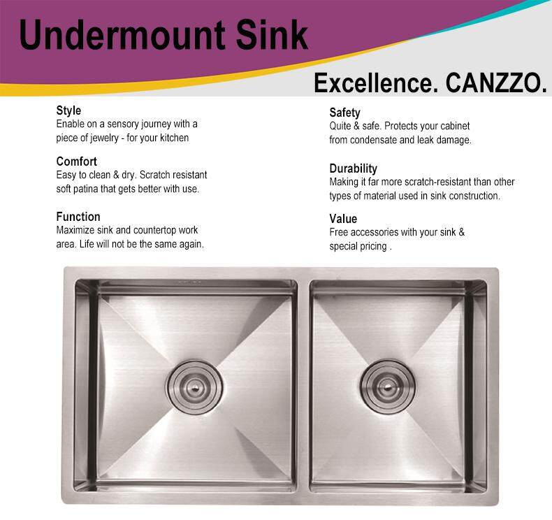 8245 NANO Handmade 304 Stainless Steel Kitchen Sink Under mount Double Bowl * FREE