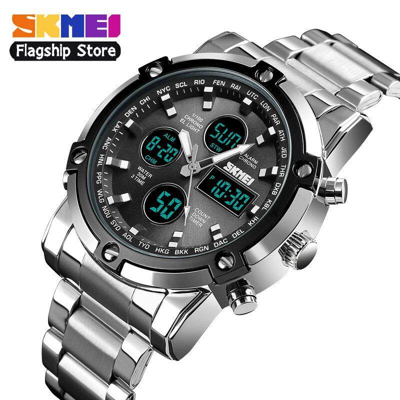 SKMEI New Men Sports Fashion Watches Quartz Stopwatch Dual Display Watch 3 Time Countdown Waterproof Wristwatches