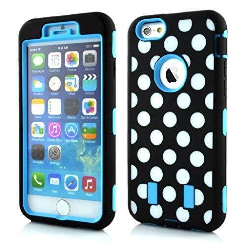 Dsstyles iPhone 6 Case Enrgo iPhone 6 4.7 '2014 Versi Case 3 In 1 Polka Dot Tuff Hybrid casing Pelindung Anti Kejut Pelindung untuk iPhone 6 2014 Versi Biru Langit-Intl