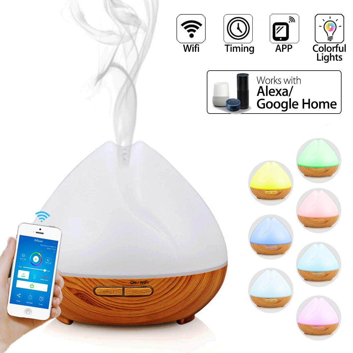 5PCS WiFi Smart Diffuser Aroma Humidifier APP LED With Amazon Alexa Google Home UK Plug