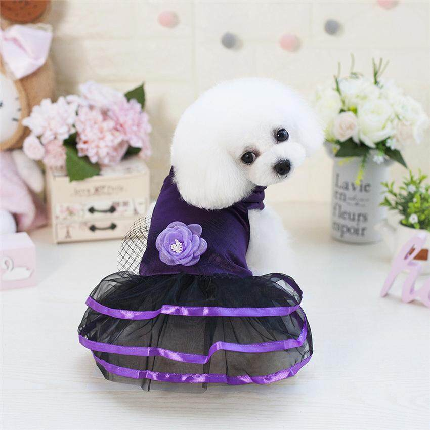 Hình ảnh 2018 New Vintage Flower Formal Dress for Small Dog/Cat Girl Satin Layered Puppy Clothes (Size XS-XL All for Small Pet)