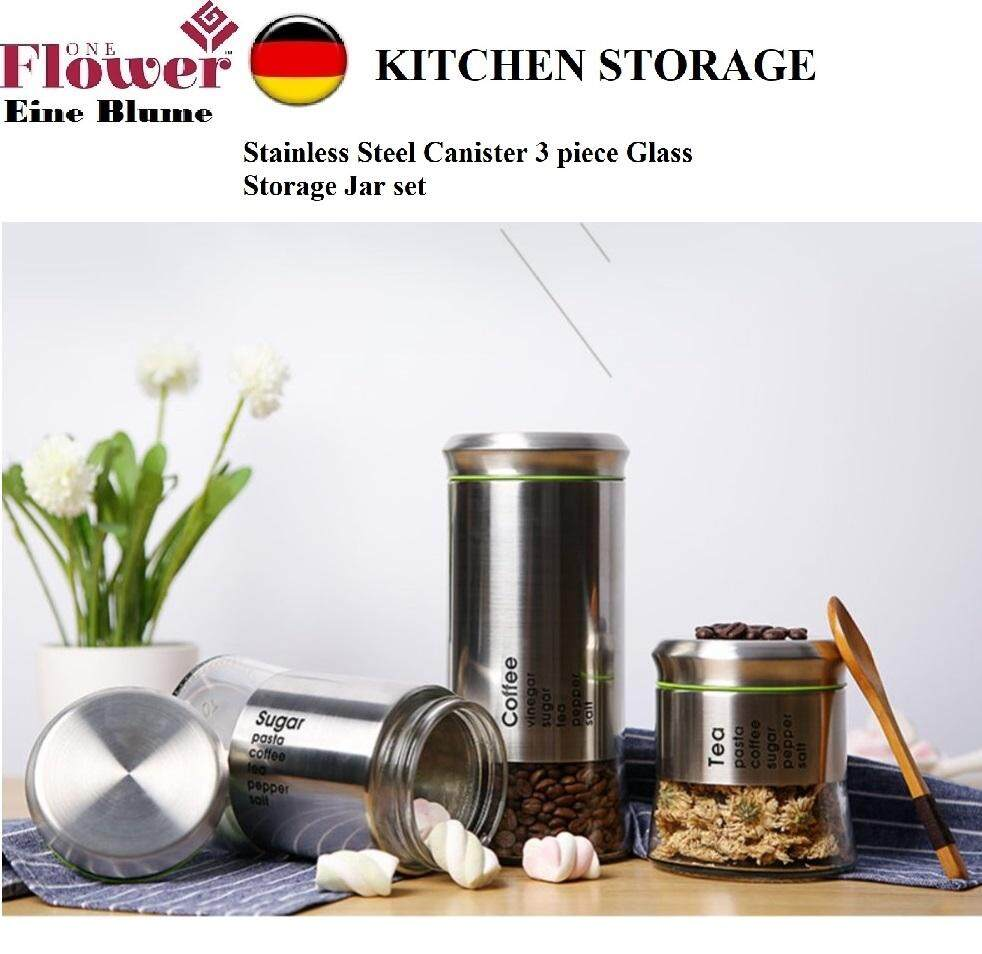 ONE FLOWER STAINLESS STEEL CANISTER 3'S STORAGE JAR