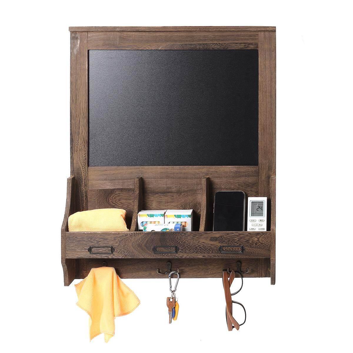 Shabby Chic Blackboard Vintage Chalk Board Wooden Notice Hooks Post Key Storage Coffee - intl