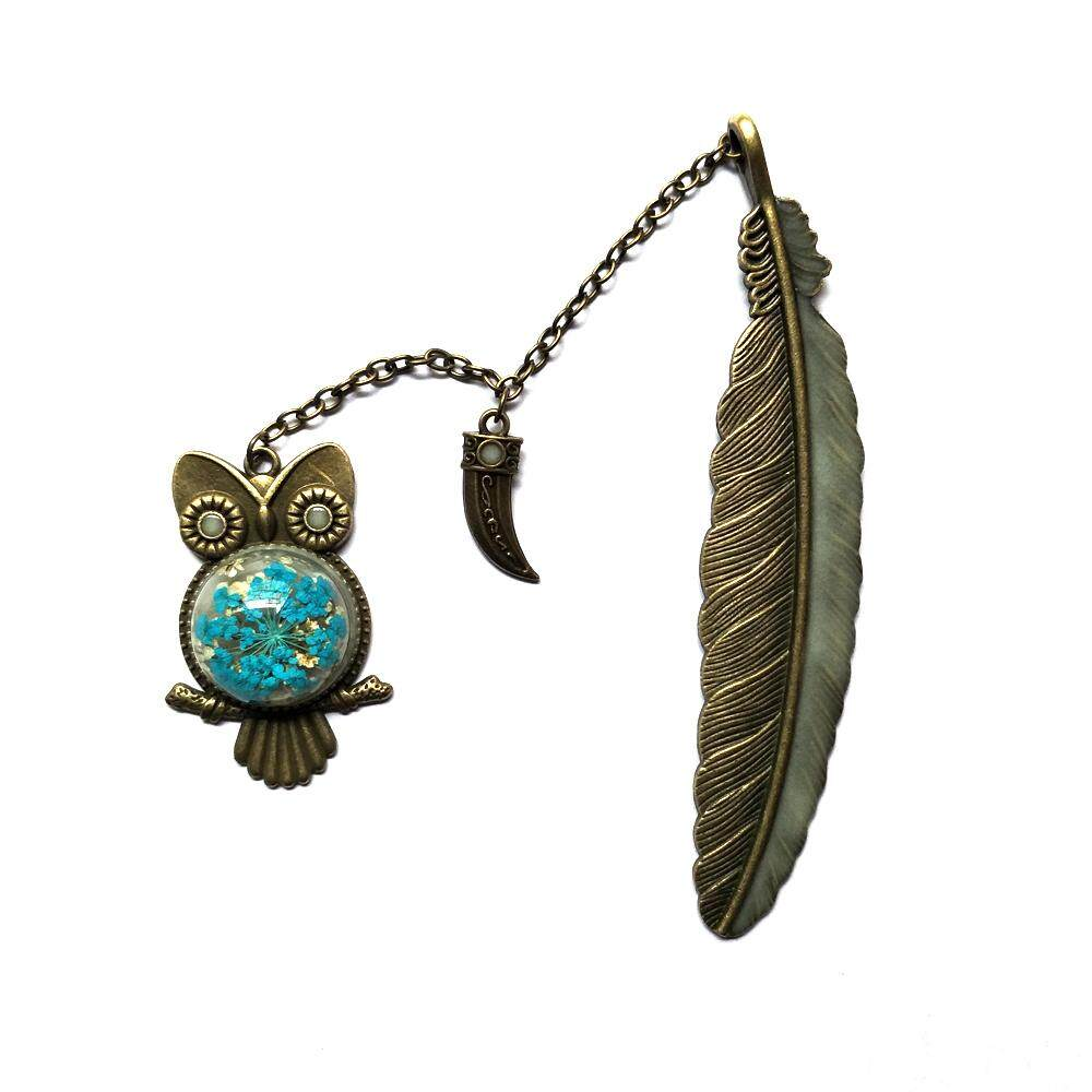 Mua blackhorse 1 pcs Cute Luminous Owl Bookmark Feather Metal Book Mark Creative DIY Stationery