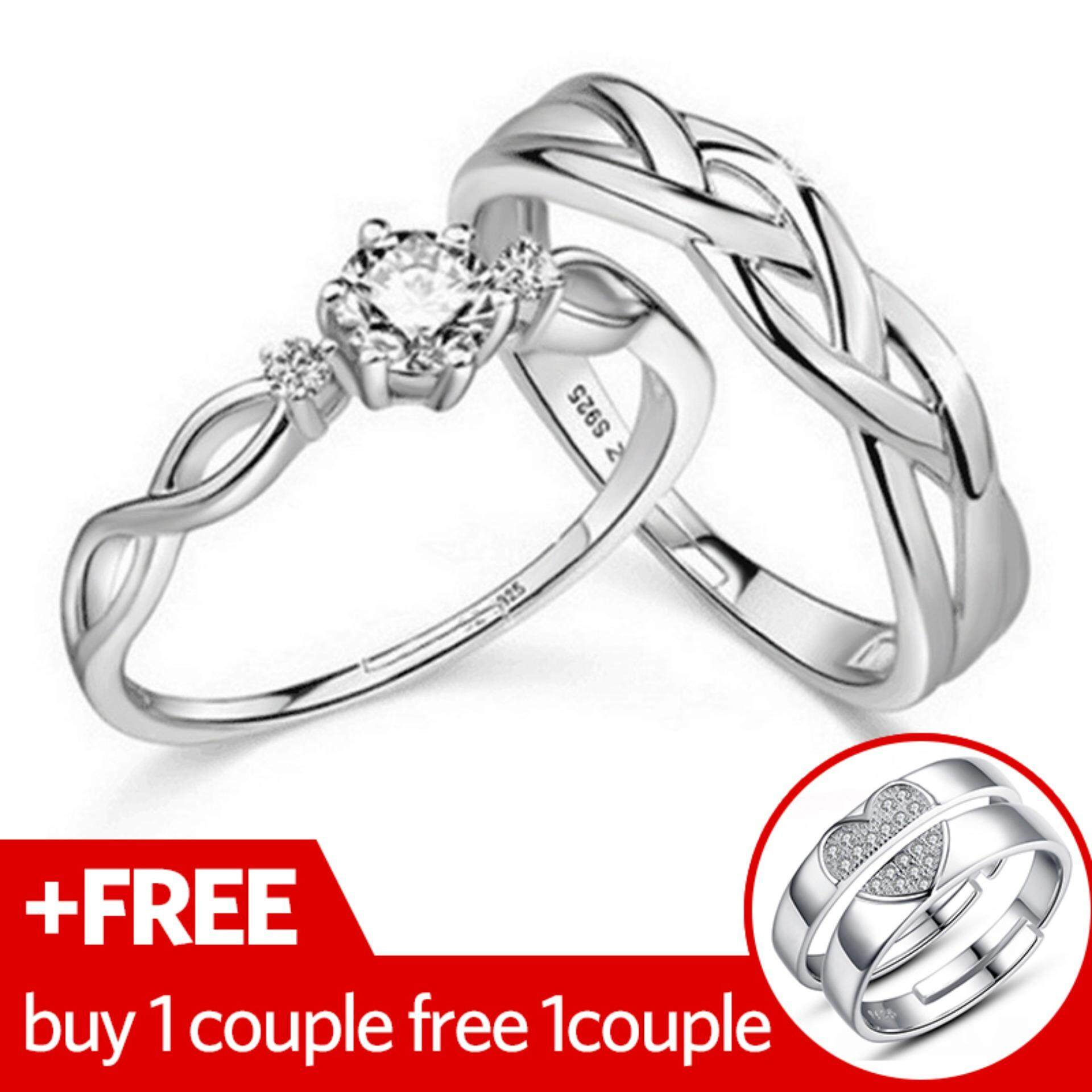 couple with white ring cz engagement website products pattern v rings silver hummer