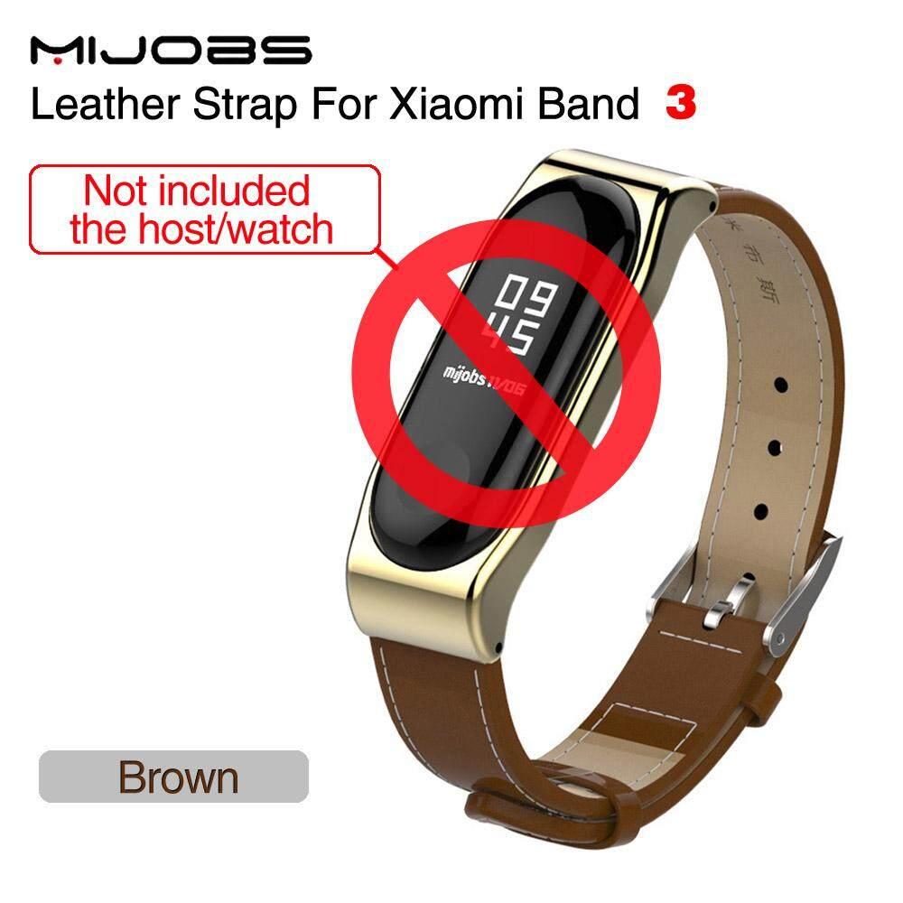 Mijobs for Xiaomi mi band 3 Wrist Strap Belt Genuine Leather Wristband for Mi Band3 Smart Bracelet for Xiaomi Band 3 Accessories