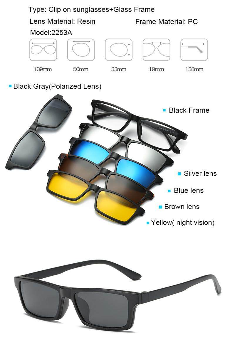 13d493a328204 JOSEJINN Magnetic Sunglasses Polarized Clip On 5 in 1 Cermin Magnet glasses  2253 Model