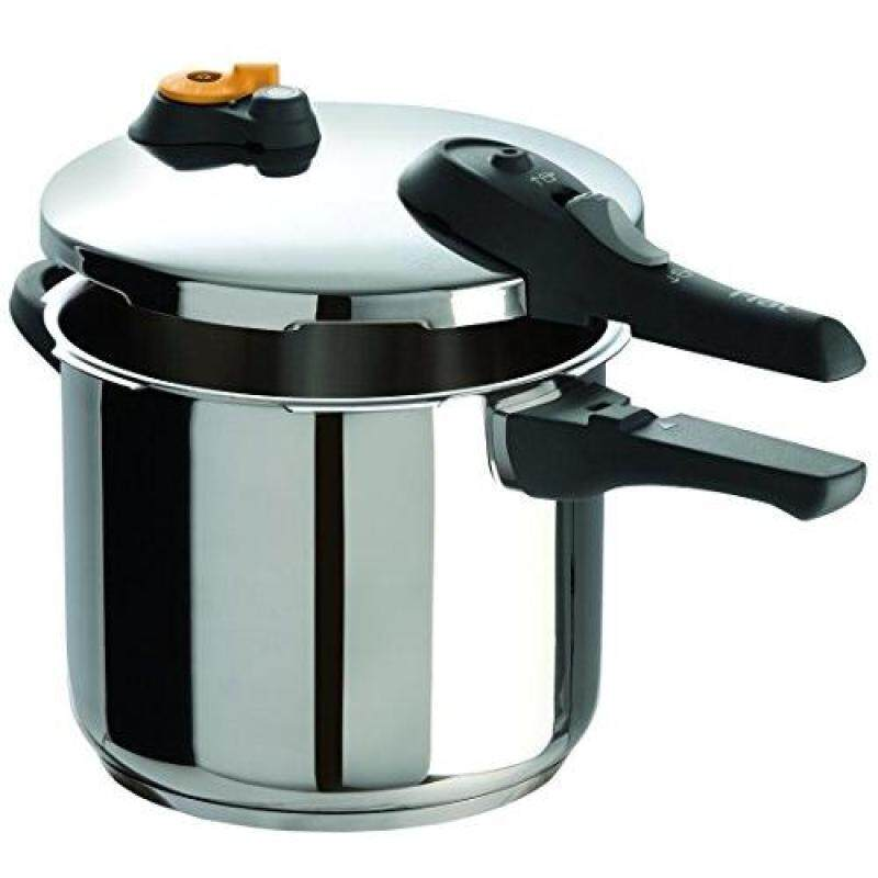 T-fal P25107 Stainless Steel Dishwasher Safe PTFE PFOA and Cadmium Free 10 / 15-PSI Pressure Cooker Cookware, 6.3-Quart, Silver, 6-Quart Singapore