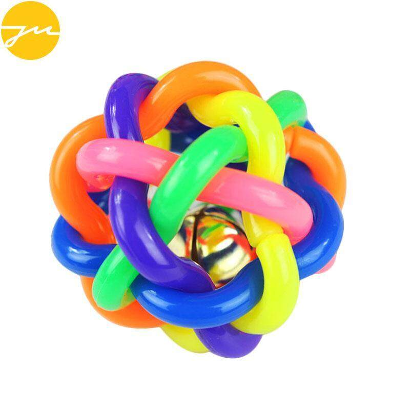 10cm Pet Puppy Dog Cat Colorful Rubber Round Ball With Bell Toy Chew Training By Jingming Store.