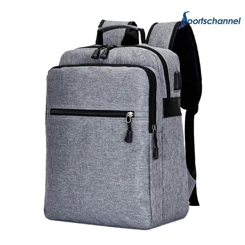Business Men Backpacks Teenage Usb Charging Canvas Laptop Travel Shoulder Schoolbag Rucksack - Intl By Sportschannel.