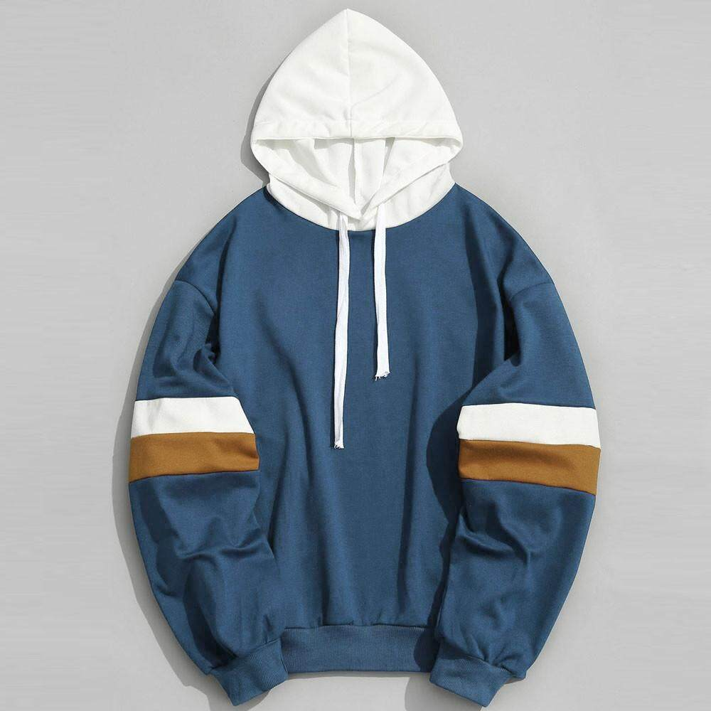 Mens Casual Patchwork Slim Fit Hoodie Outwear Blouse Sweatshirt Mml By Meng Meng Lin.