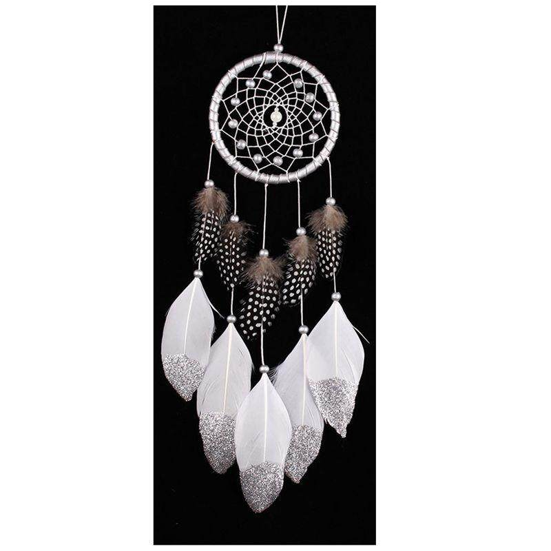Hot Deal Khi Mua 1 Silver White Wooden Beads + Feathers Home Decoration Silver Powder Big Floating Feathers Catch Monternet Feather Wind Bells Car Ornaments 45-50cm - Intl