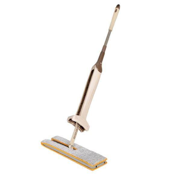 Double Sided Hands Free Floor Mop with 2 Microfiber Cloths (38 cm)
