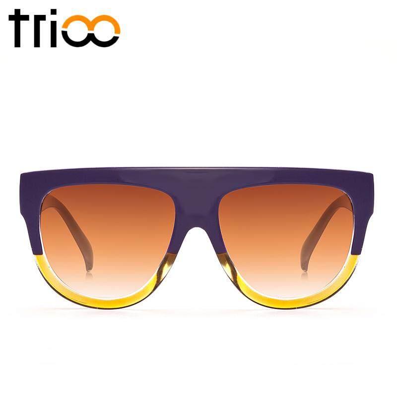 TRIO Mode Flat Top Ladies Sunglasses Oversized Tortoiseshell Warna Shades Brown Gradient Lens Shadow Sun Glasses Untuk Wanita Burgundy