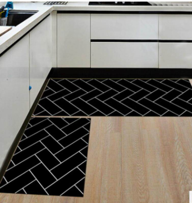 Black Kitchen 2pcs/set Floor Mat Geometric Pattern Area Rugs Carpets Doormat (40*60+40*120)