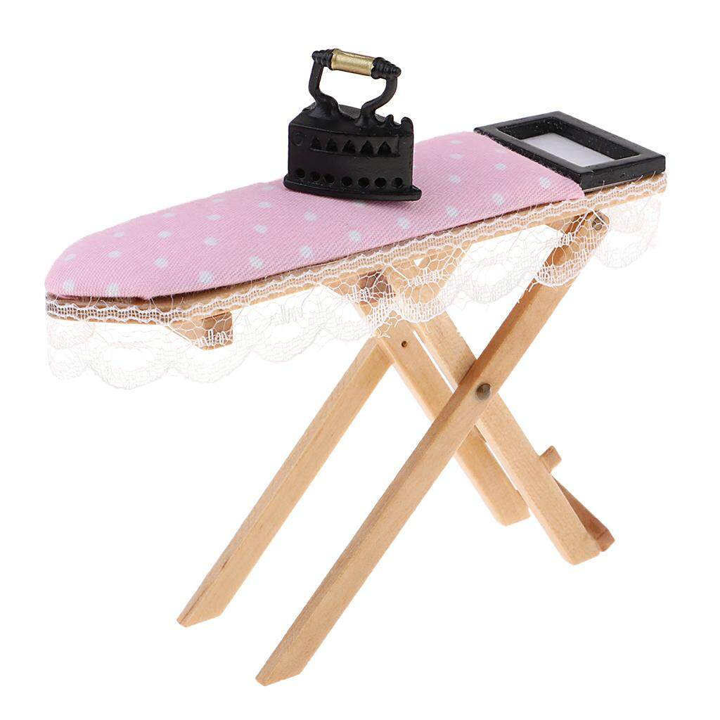 Dollhouse Miniature Ironing Board with Lace Trim and Vintage Look Iron