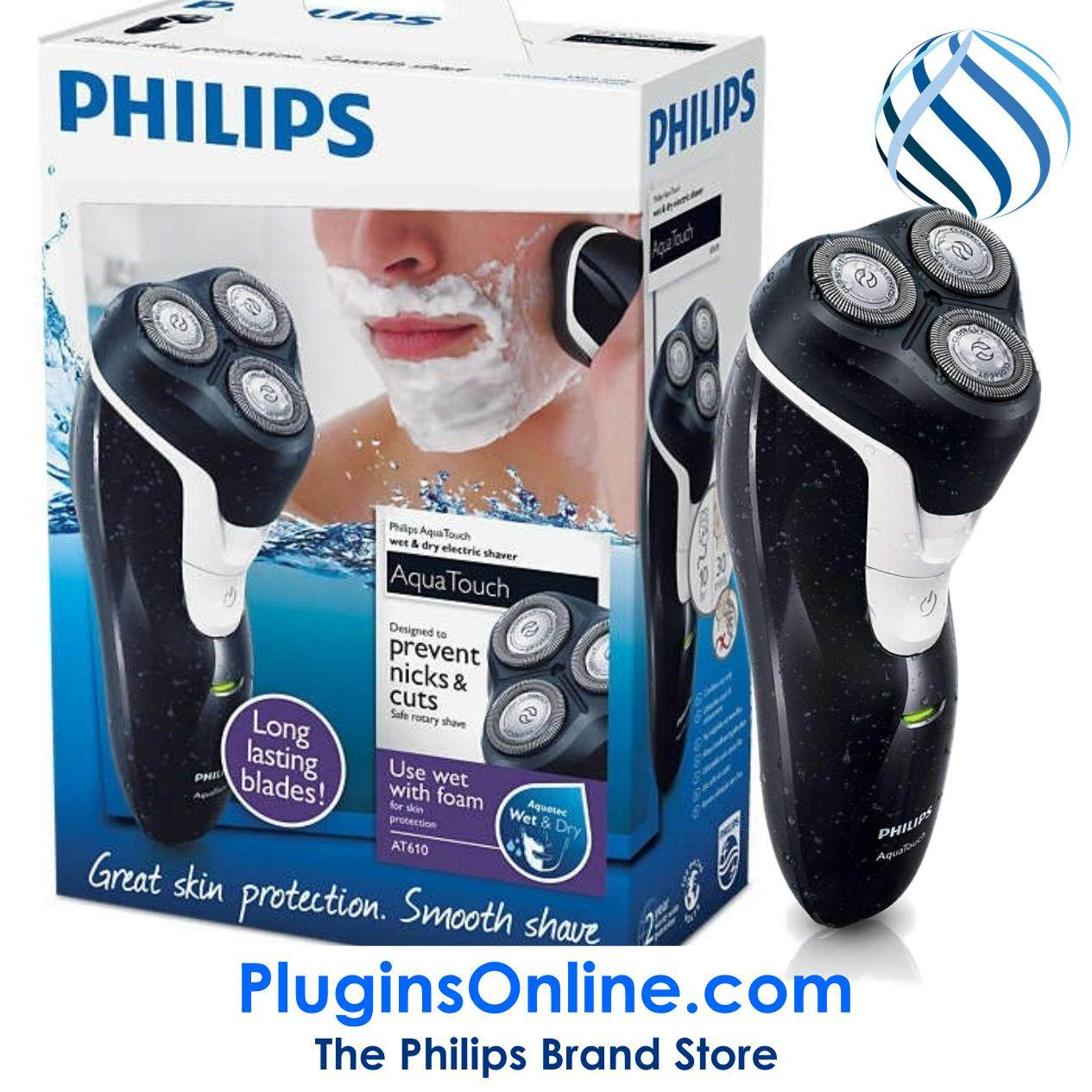 Philips AT610/14 AquaTouch 100% Waterproof Electric Shaver, Wet & Dry (AT610)