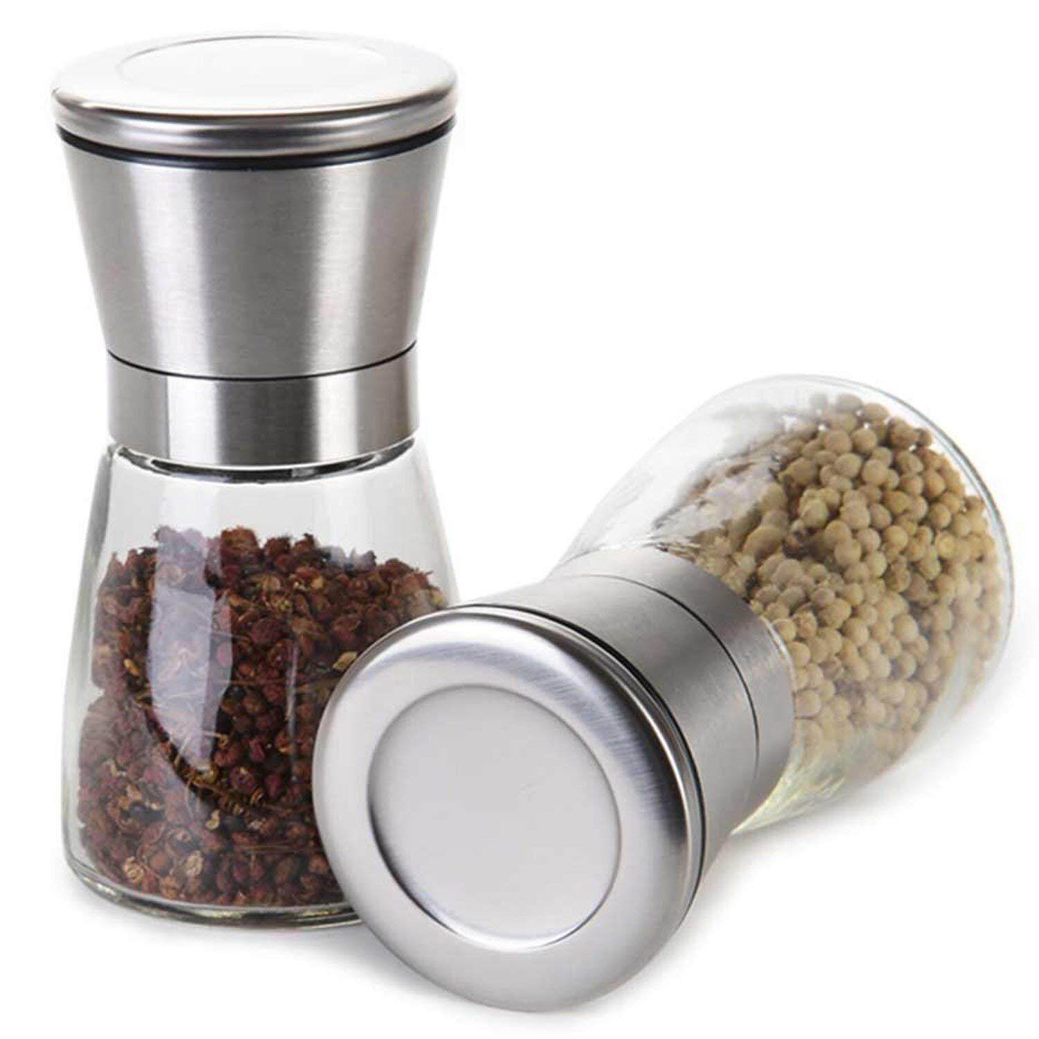 2-Pack Kitchen Premium Brushed Stainless Steel Salt & Pepper Grinder With Adjustable Coarseness By Skinartwork.