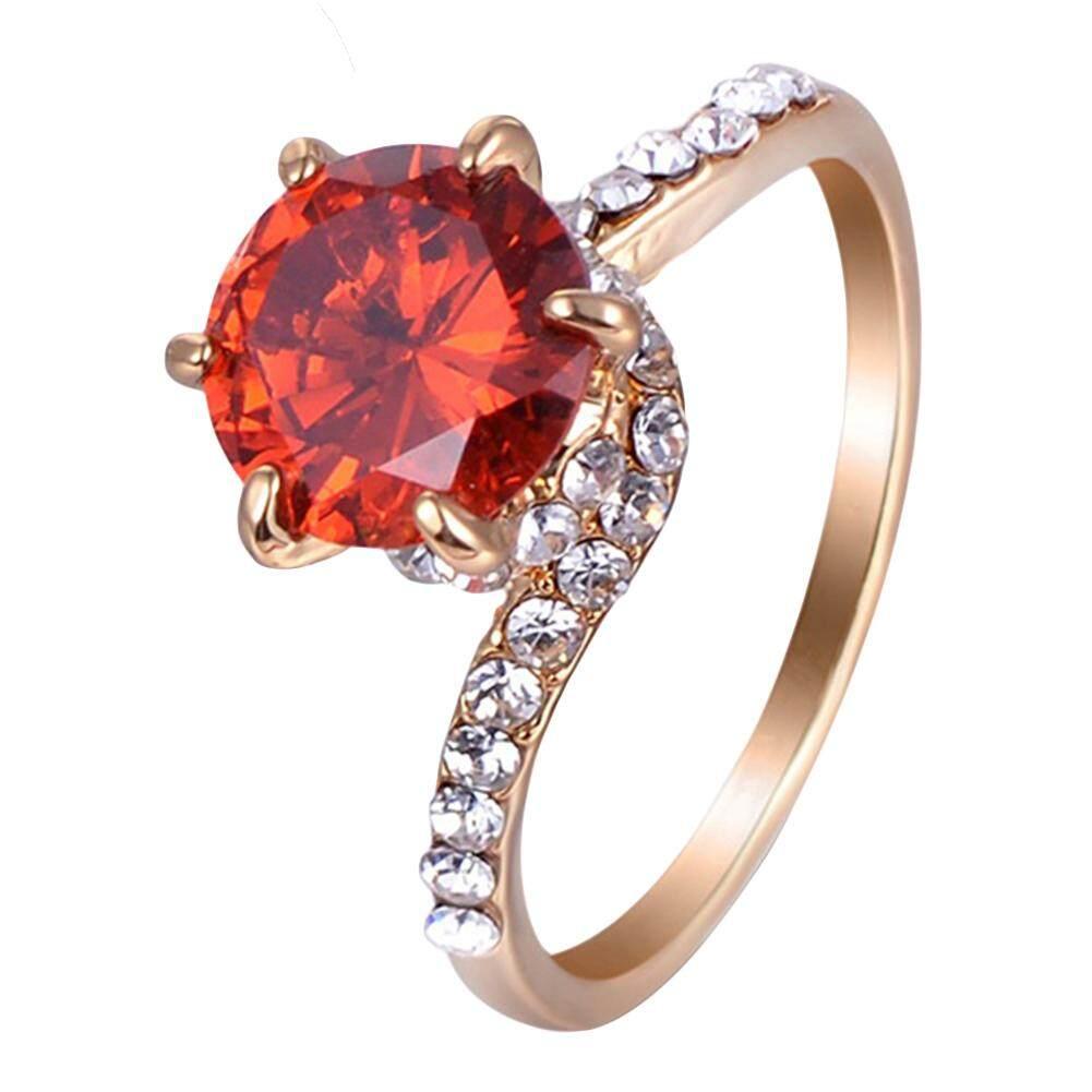 Hình ảnh Fashion Women Round Zircon Inlaid Finger Ring Engagement Wedding Bridal Jewelry US 6 (Golden) - intl