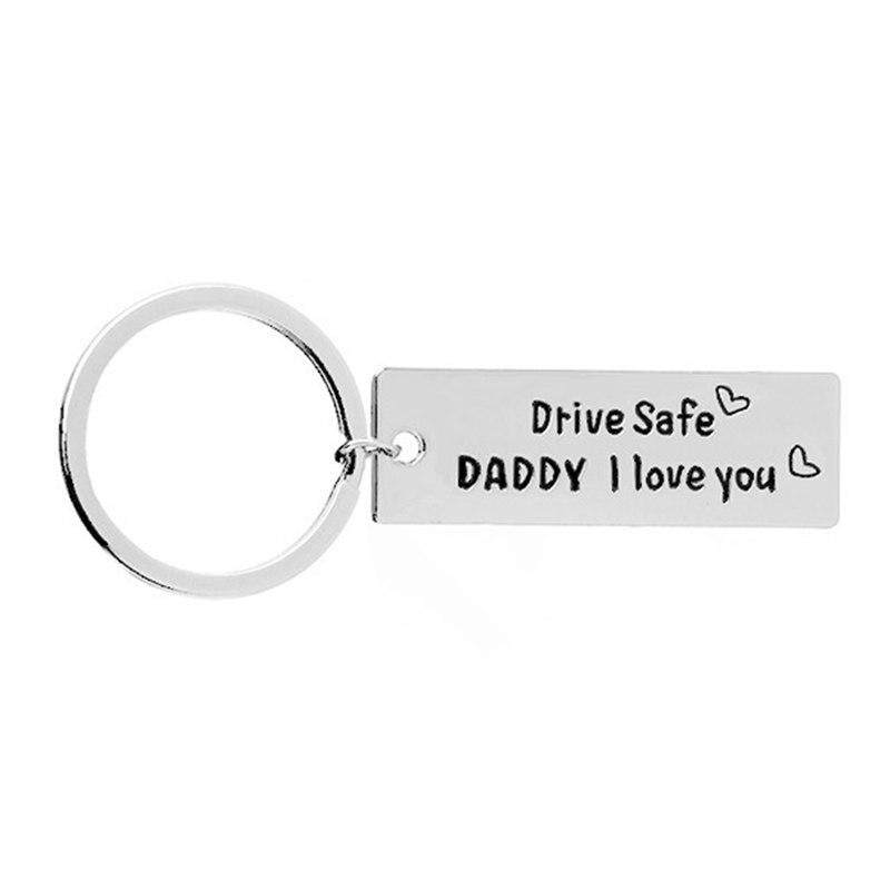 """Fancyqube Creative Keychain Men Key Ring Letter """"Drive Safe Daddy I Love You"""" Father's"""
