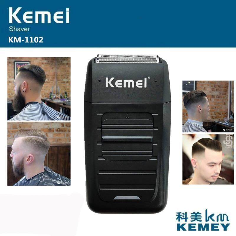 Kemei KM-1102 Rechargeable Cordless Shaver for Men Twin Blade Reciprocating Beard Razor Face Care Multifunction Strong Trimmer