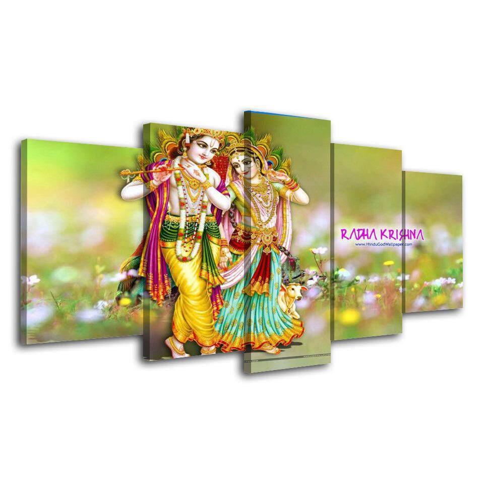 Features Hindu God Krishna Canvas Painting 5 Panel No Frame Hinduism ...