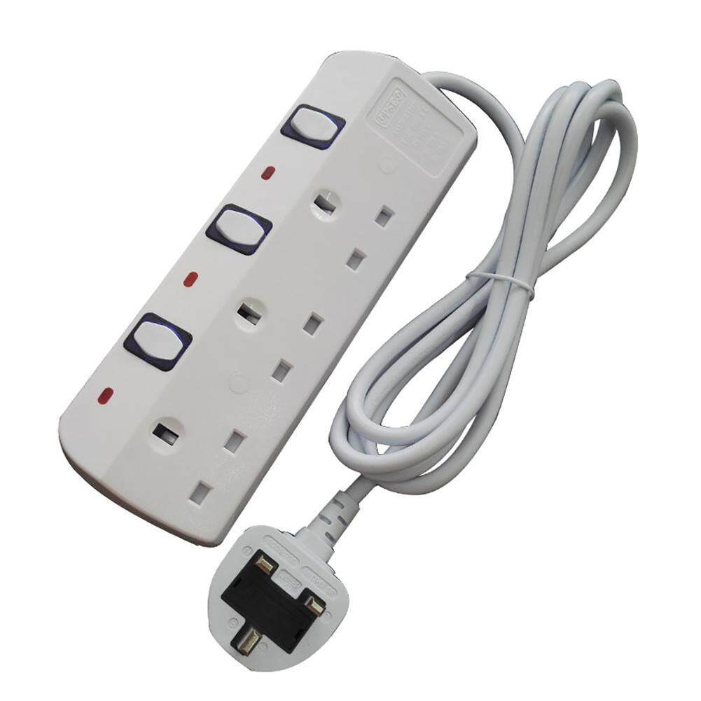 leegoal UK Plug - 3 Ports Power Socket Outlet AC Power Supply Power Strip Surge Protector - intl