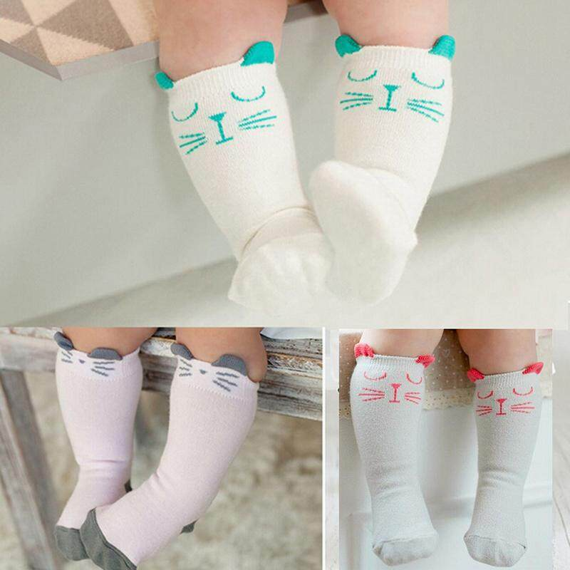 9b07a40b13b born Toddler Knee High Sock Baby Boy Girl Socks Anti Slip Cute Cat S-M Pink  Size