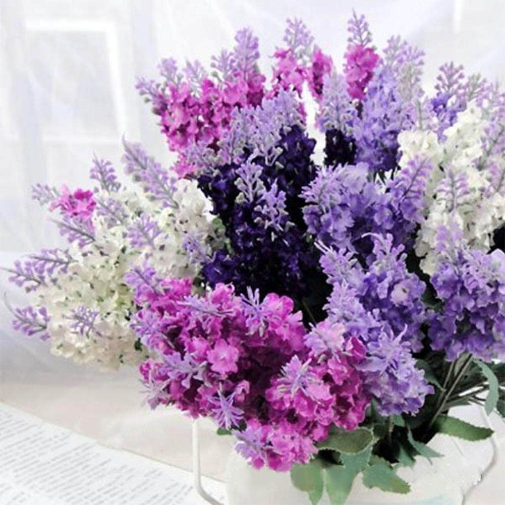 Super Simulate Lavender Bouquet Artificial Flower Home Wedding Decoration Photo Props (10 Lavenders per Bouquet