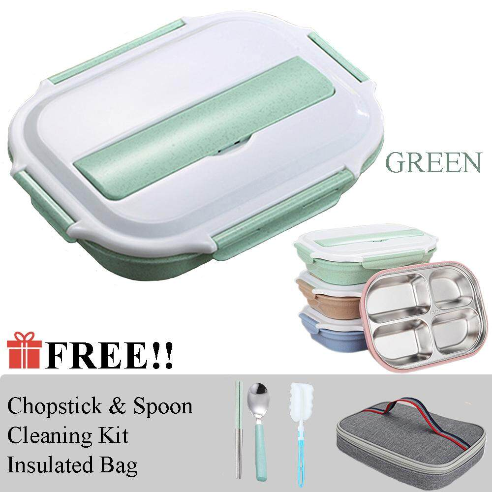 Lock Lunch Box Tahan Panas For Rice Or Sop Mime Size 350ml Locklock Set 2p Black Hpl752 Hitam 304 Stainless Steel Bento With Multiple Compartments Free Spoon Brush Cleaning Tools