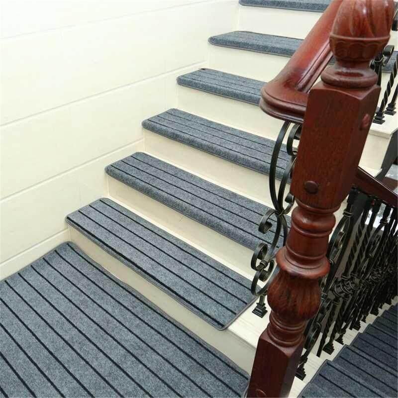 5 Tấm Thảm Trải Sàn Cầu Thang Tấm Phủ Bảo Vệ Thảm Chống Trượt Bậc Cầu Thang Miếng Đệm-Thanh Màu Xám