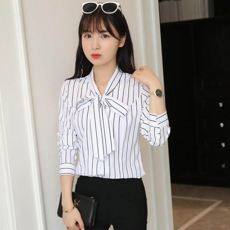 Korean Bow Tie Lace Shirt Long Sleeved Slim V Large Striped Chiffon Shirt - intl