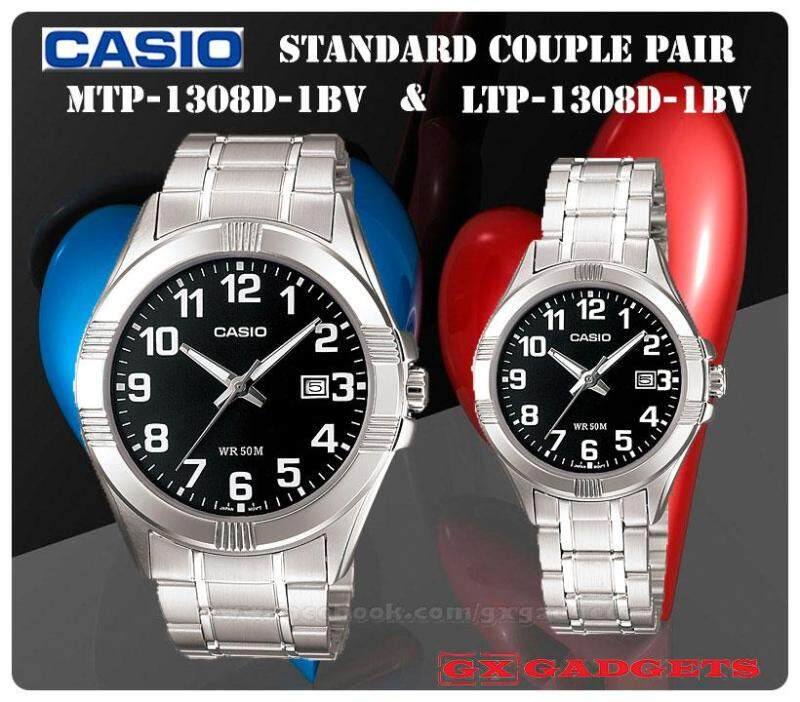 CASIO MTP-1308D-1BV + LTP-1308D-1BV STANDARD Analog Couple Pair Watch Date Stainless Steel Band WR50m MTP-1308 LTP-1308 1308 Series Malaysia