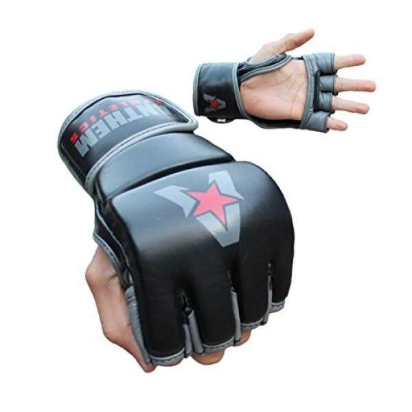 Anthem Athletics PREDATOR MMA Gloves - Training, Kickboxing, 100% Highest Grade Leather - Black, Grey & Red - - intl