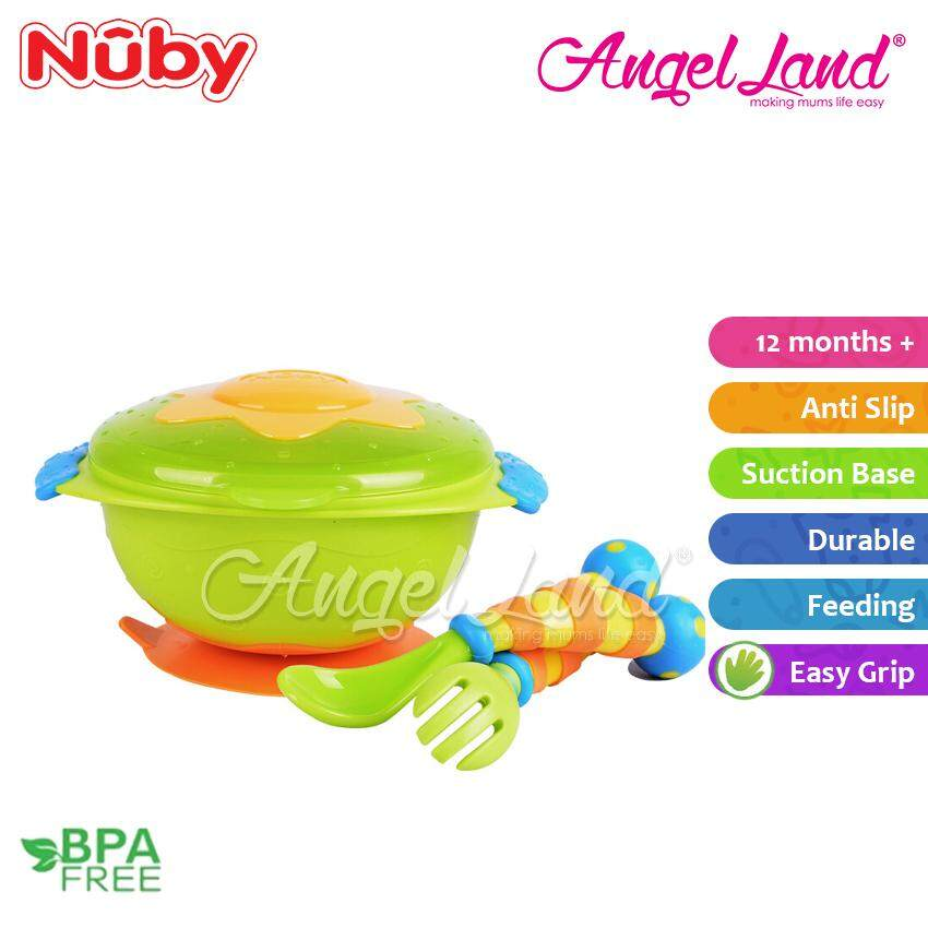 Nuby Wacky Ware Combo Set PP Suction Bowl & Fork+Spoon with Handle (12m+) NB5321