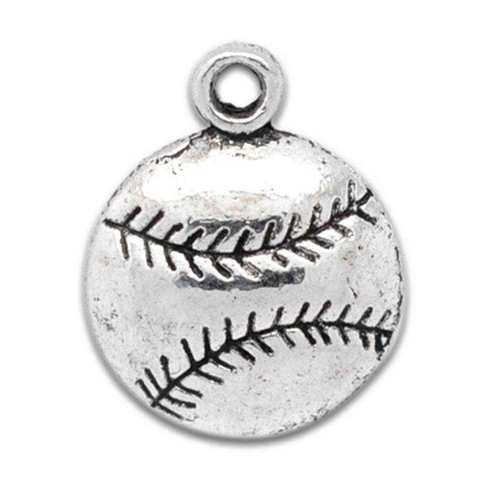 50 Silver Tone Baseball Charm Pendants 18x14.5mm