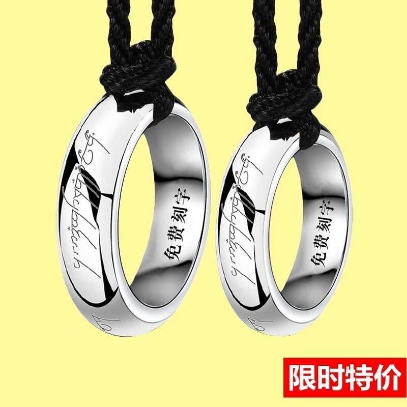 【model perempuan】Pasangan kalung cincin sepasang sterling silver siswa sederhana Jepang dan Korea seni
