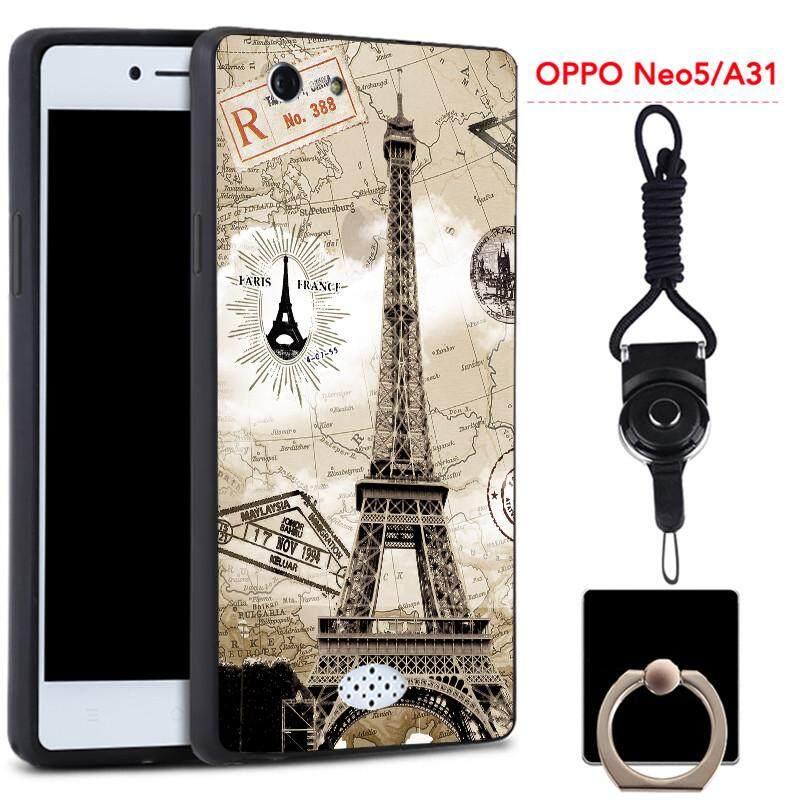 Untuk OPPO A31/Neo 5 Silica Gel Casing Lembut Ponsel dengan Cincin dan Tali