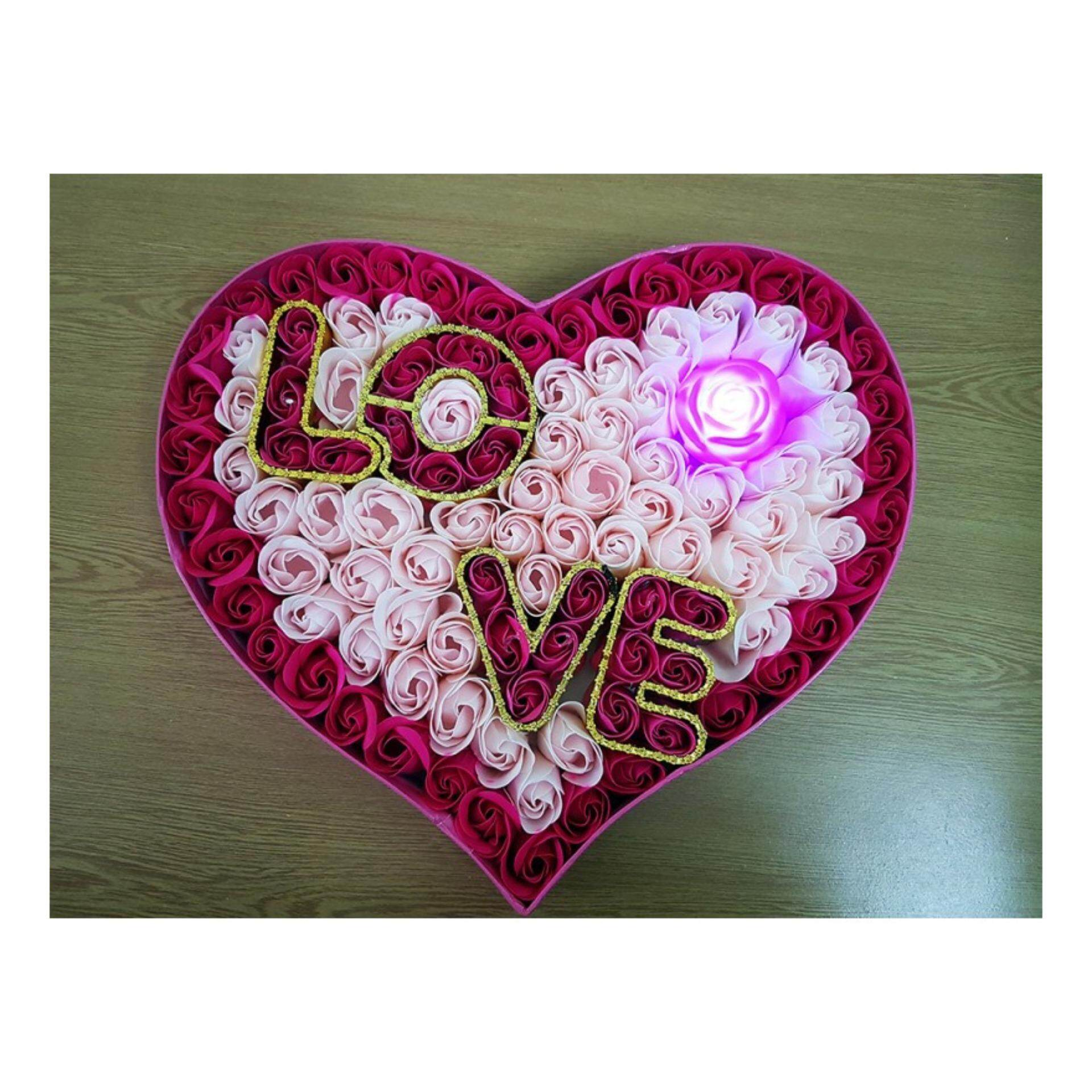 92 faded roses in a love shape box with rose light