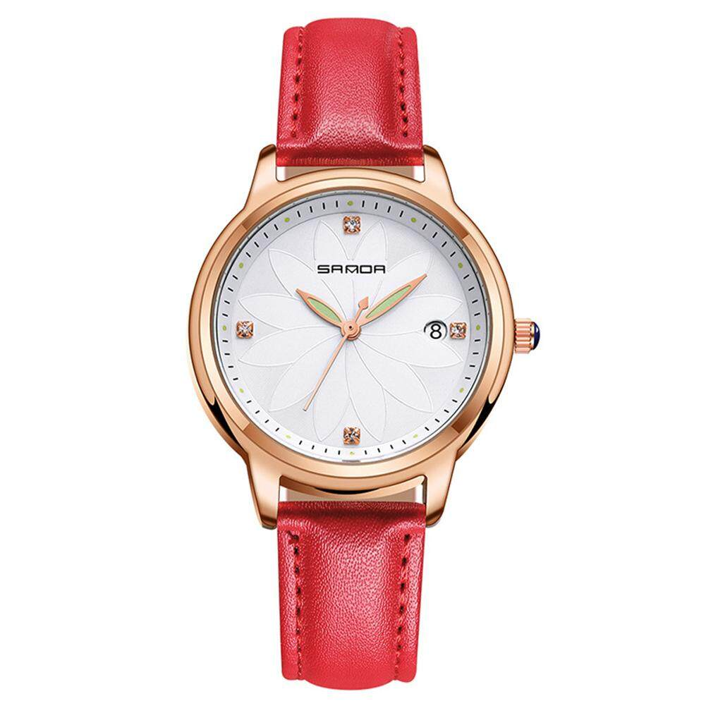 DANLONG Exquisite Women Quartz Watch with 3 Willow Leaf Pointer Wristwatch Ornament Gift