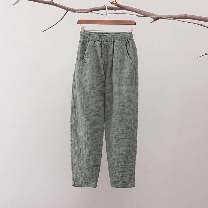 2641300a84335 Women Plus Size Elastic Waist Cotton Trousers Loose Plain Cropped Ankle  Pants