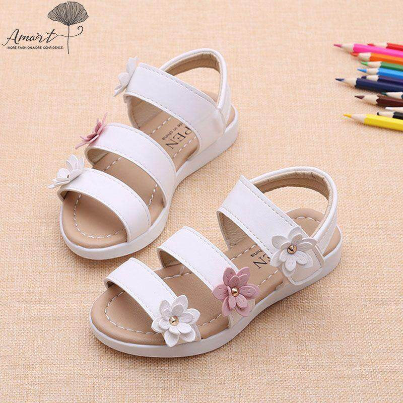 abcf1dcf2c317 Amart Fashion Summer Baby Girl Flat Sandals Strappy Flowers Kids Toddler  Shoes - intl