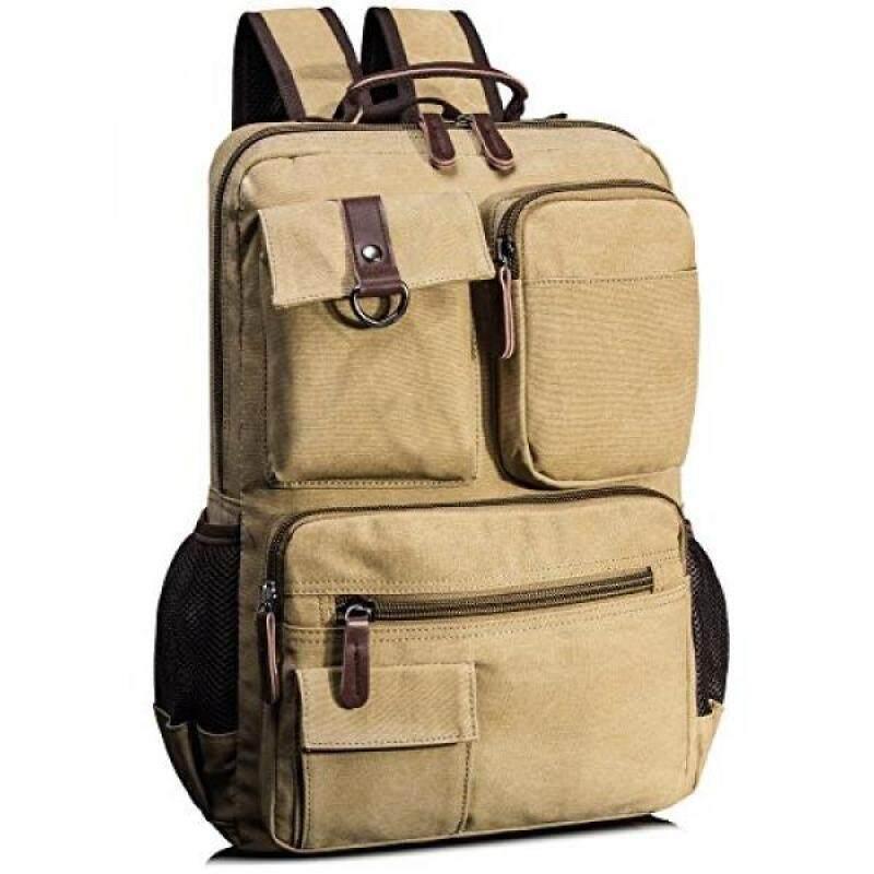 Leaper Vintage Cool Canvas Laptop Backpack Rucksack for College School Travel Daypack Shoulder Bag - intl