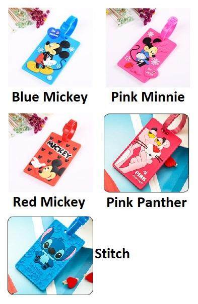 Set of 5 Cute Luggage Tag [Disney Series - Mickey, Minnie, Pink Panther, Stitch]