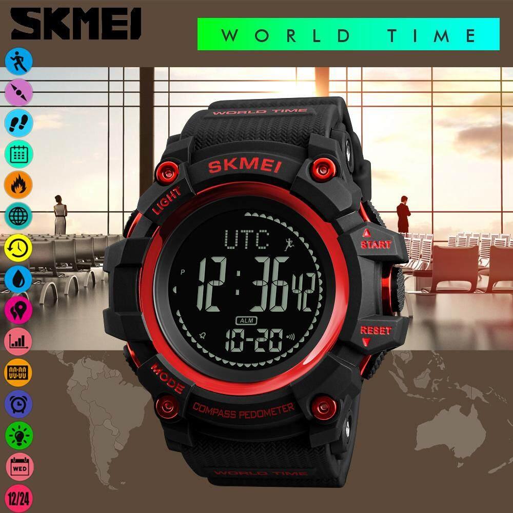 SKMEI Pria Jam Pedometer Olahraga Digital Kompas Stopwatch Hitung Mundur  Kalori Jarak Tempuh Berpadu Jam Dunia ce9b53b52e