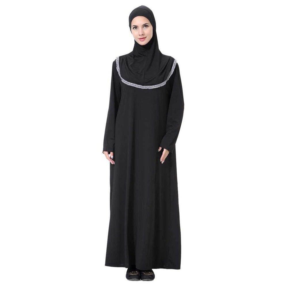 Malaysia Arab Muslim Timur Tengah Wanita Tradisional Jumpsuit Bahasa Arab Abaya Ramadan Kaftan Gamis Hitam Ukuran: M ~ XL
